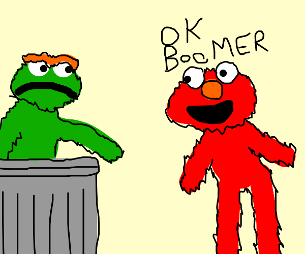 "elmo says, ""ok, boomer"""