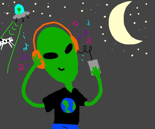 Alien tween with headphones.
