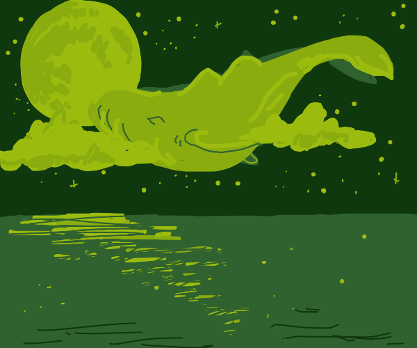 Whale dives in the moonlight