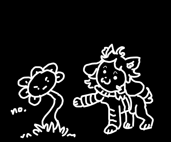 Temmie touches flowery