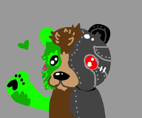 Robot and Frankenstein head teddy bear
