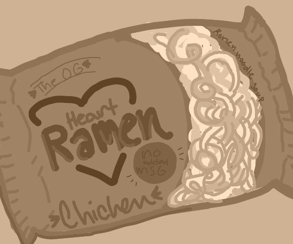 A Pack of Heart brand Ramen, chicken flavored