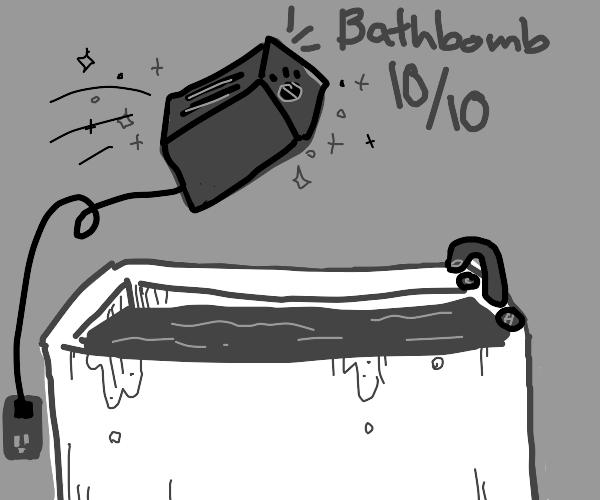 toaster + bathtub