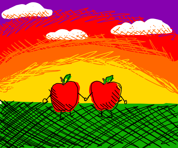 apples walk into the sunset and ones bleeding