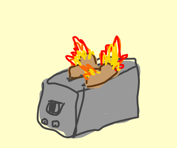 Toaster with burning bread