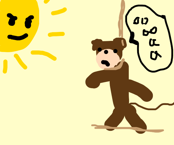Monkey being executed while the sun watches