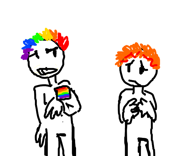 rainbow person greets ginger person