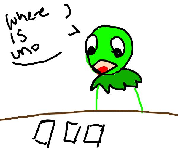 Kermit thinks solitaire is uno