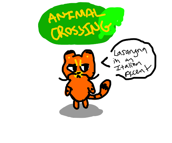 Italian Garfield in Animal Crossing