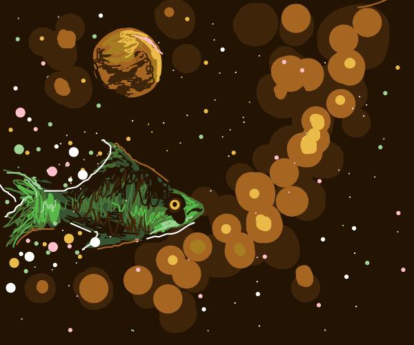 Green fish in dark sky with stars