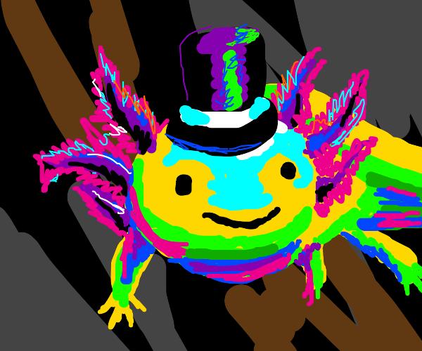 fancy neon axolotle