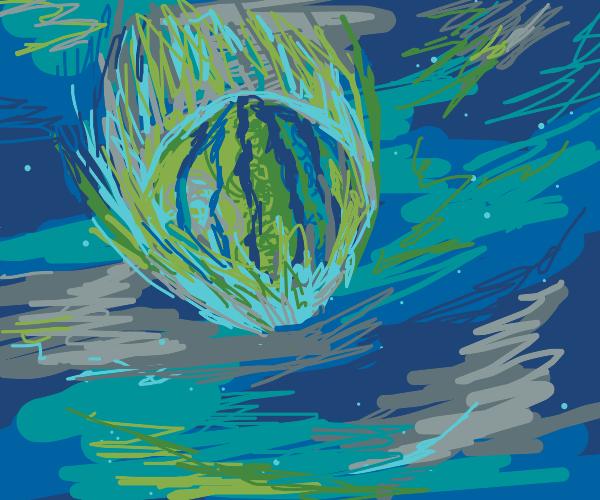 Watermelon falling in space