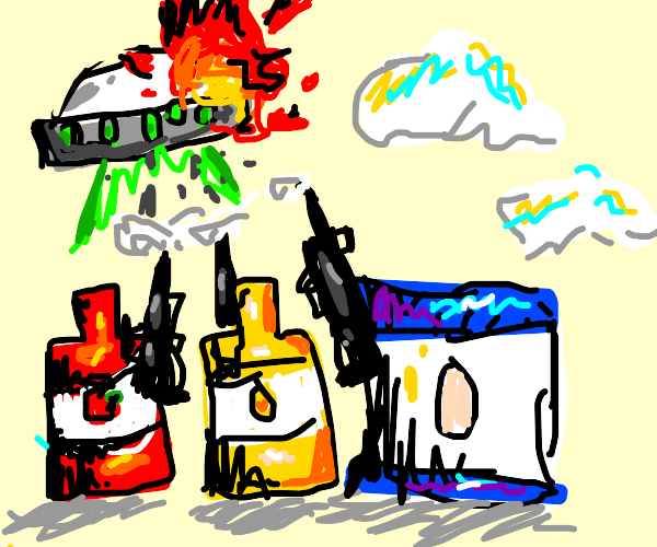 ketchup, mayo and mustard attack an UFO
