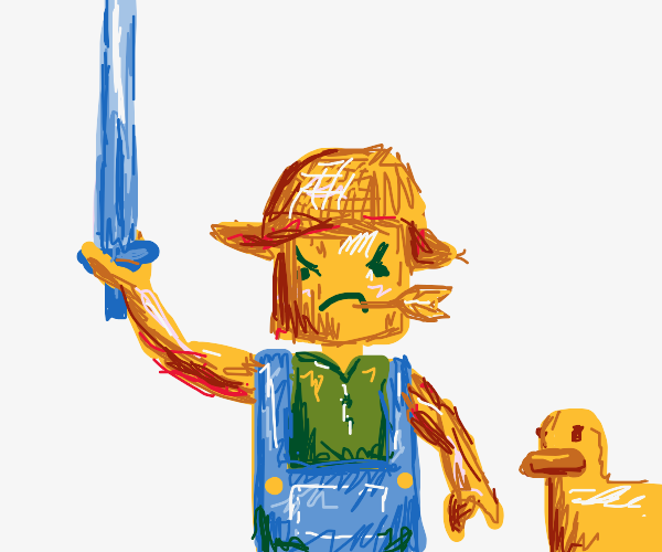 Lego farmer with sword