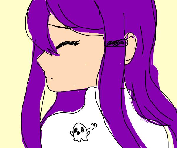 "Purple Hair Girl with Ghost Shirt saying ""Yo"""