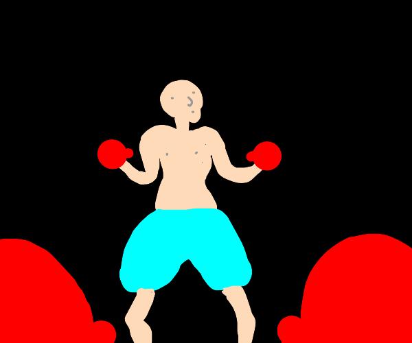 Pink guy boxing
