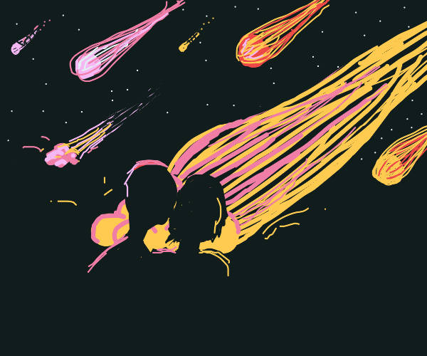 First Kiss Underneath Meteor Shower