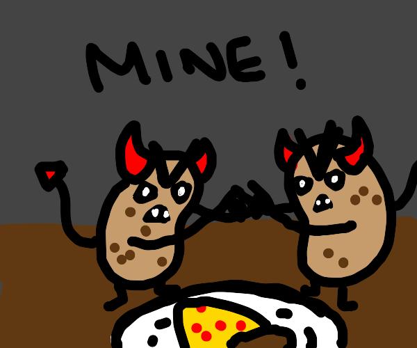demon potatoes fight over pizza slice
