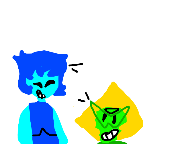 Lapis and Peridot being cuties