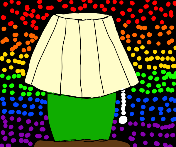 lamp surrounded by rainbow dots
