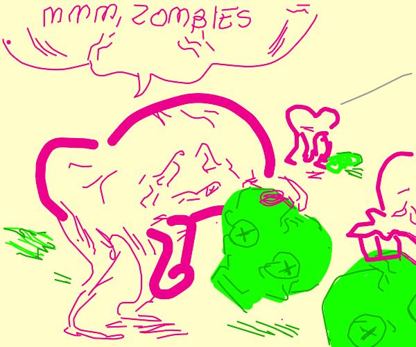 Brayyns eating zombie