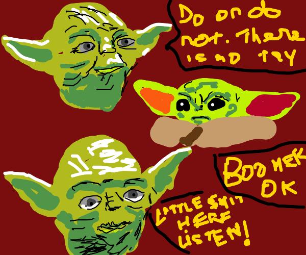 Baby Yoda fed up with Yoda's advice