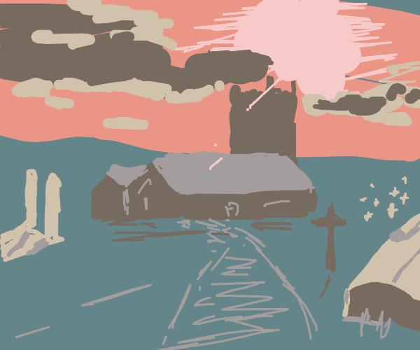 A churchyard at sunset.