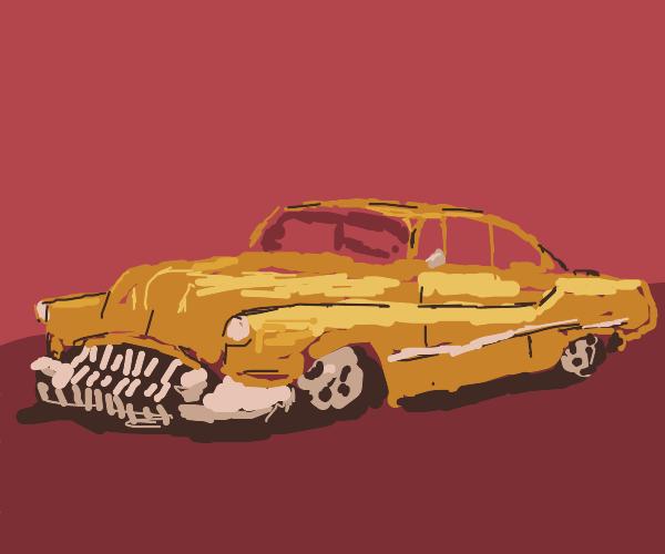 an old yellow car