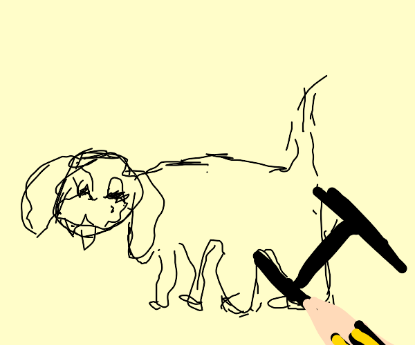"""Dog drawn with letter """"H"""""""