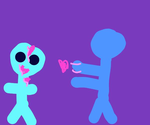 Blue man give love