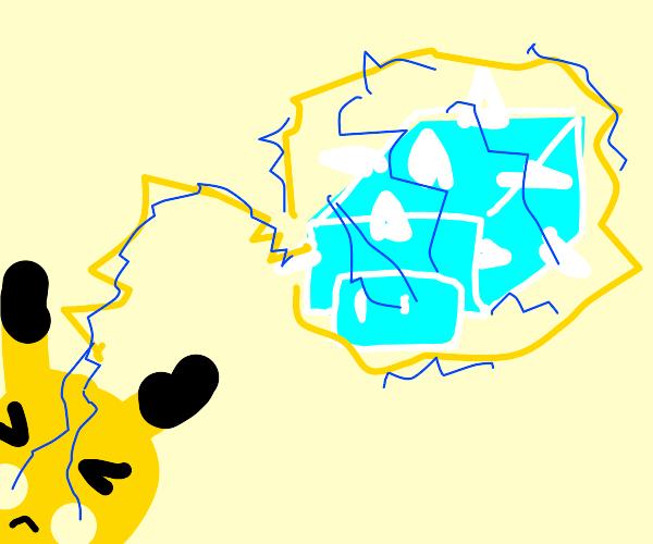 Pikachu electrocuting snomb icecube