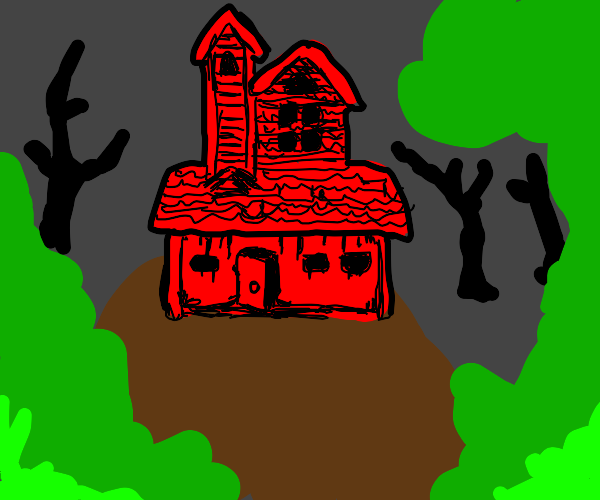 Ominous red house