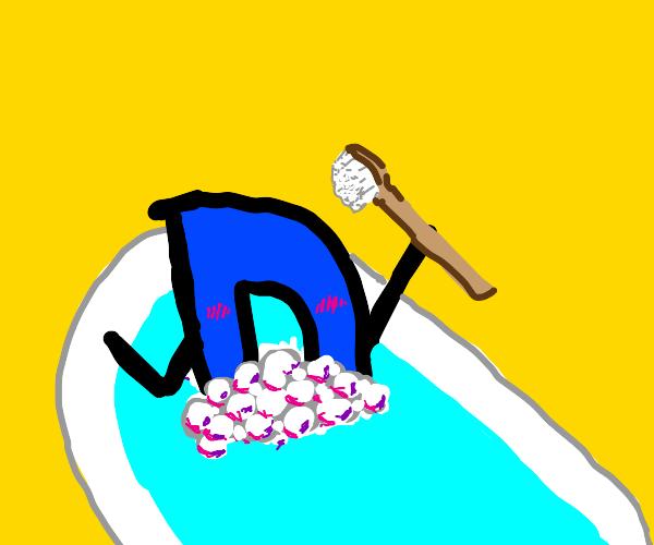 Drawception D taking a bath