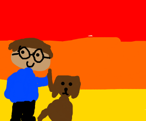 Harry potter with his dog in the sunset