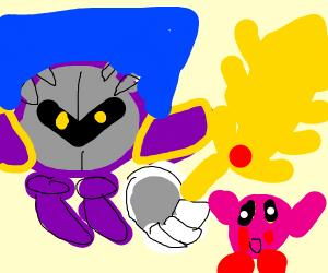 Meta Knight battling Kirby