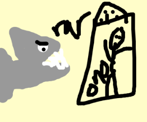 a shark attacking an elevator
