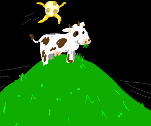 A moon jumping over the cow