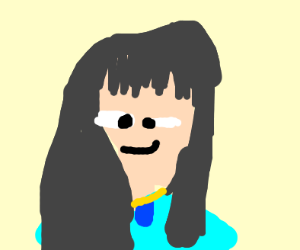Cross eyed Rei Hino in a blue dress w/ amulet