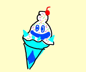 Vanilla ice cream cone w/sprinkles and cherry