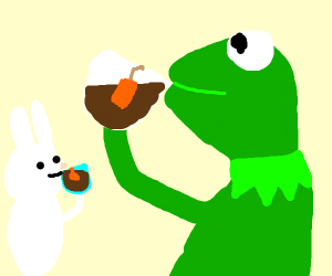 white rabbit and a frog having tea