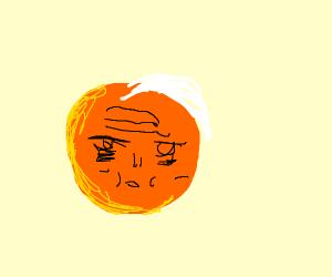 A orange growing white hair