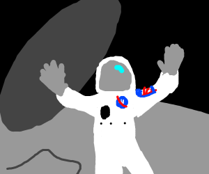 Astronaut being sucked into a black hole