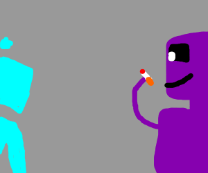 A purple man is addicted to smoking