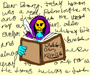 Skeletor writes in his diary.