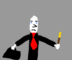 Businessman Voldemort but with a nose