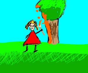 yee yee girl painting stuff outside