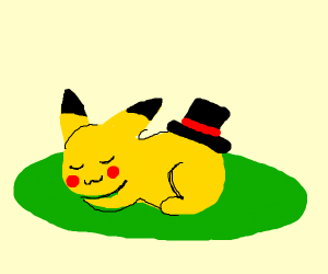 Pikachu has a top hat on his butt