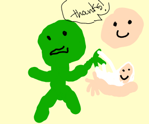 Frog man delivering a baby boy