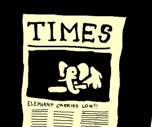 Breaking news: Elephant carries log