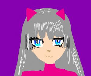 A Neko with thin silver hair